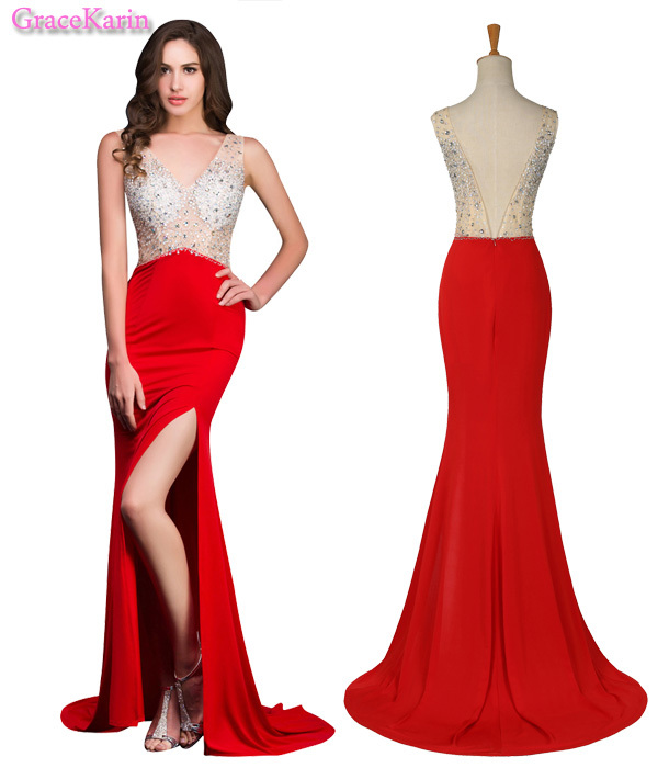 Charming New 2015 GK High side slit red long prom dress floor length beaded sexy see through V neck backless party gown dress