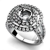 White Gold Diamond Semi Mount Rings, 14K/18K White Gold natural Diamond Engagement Semi Mount Rings