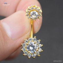Серьги Starbeauty 14 г с большими прозрачными камнями, висячие кольца с пуговицами для живота, серьги в виде цветка из розового золота, серьги для ...(Китай)