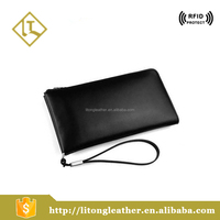 China wholesale high quality black plain leather clutch handbag for men
