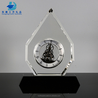 Unique Shape Clear Crystal Glass Anniversary Desk Clock Gifts