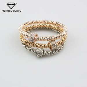 Lady elegant superior cheap diamond bead multilayer thick chain bracelet