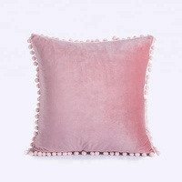 Premium Trendy Fashion 18x18 Square Knitted Plain Pink Reversible Polyester Velvet Fringed Pom Pom Cushion Cover Pillow