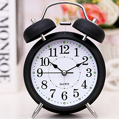 "FirstDecor 6""Retro Vintage Alarm Clocks Two Bells European retro wood color 3D stereo Table Clocks Desktop Clock Home Decoration Desk Clock with Nightlight and Loud Alarm"