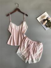Женская одежда BZEL, летний комплект с шортами, пижама, атласная пижама, топ на бретельках + шорты, пижама с кружевом, сексуальная пижама Mujer(Китай)