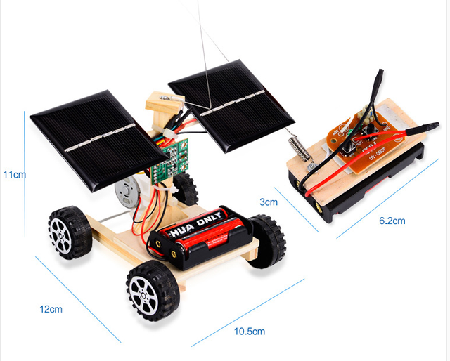 Assemble Solar Car Wireless Remote Control Car Wood Toys For Children Physical Science Experiments Technology Educational Toys