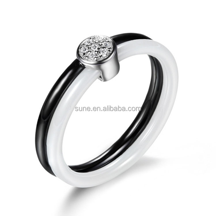 newest <strong>black</strong> and white ceramic ring with silver luxury 925 sterling silver engagement ring with diamonds for women