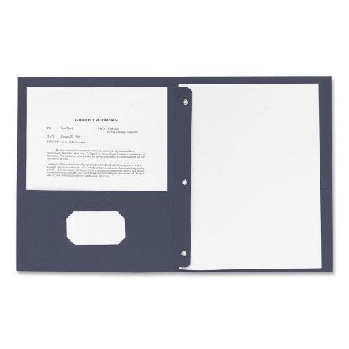 Business Source Two Pocket Folder - Letter - 8.5amp;quot; x 11amp;quot; - 3 Fastener - 100 Sheet - 0.5amp;quot; Capacity - 25 / Box - Dark Blue