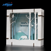 Wooden Multi Layers 3D Christmas Scene Home Decoration