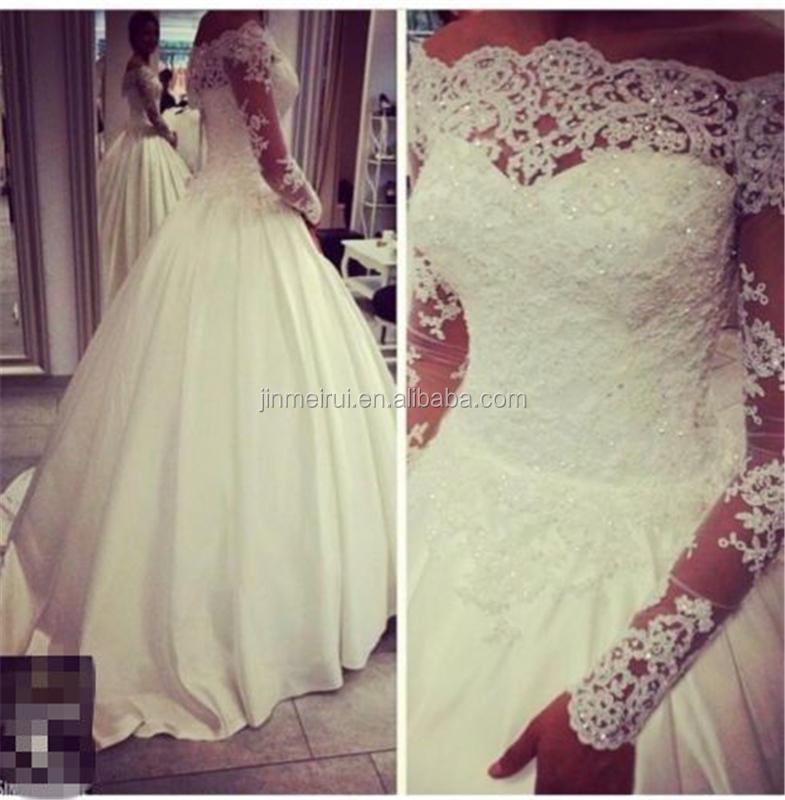 Sheer Top Neck Vestido De Noiva Plus Size Off The Shoulder Vintage Wedding Dresses Lace Long Sleeve Bridal Gowns Princess Satin Buy Wedding Dress