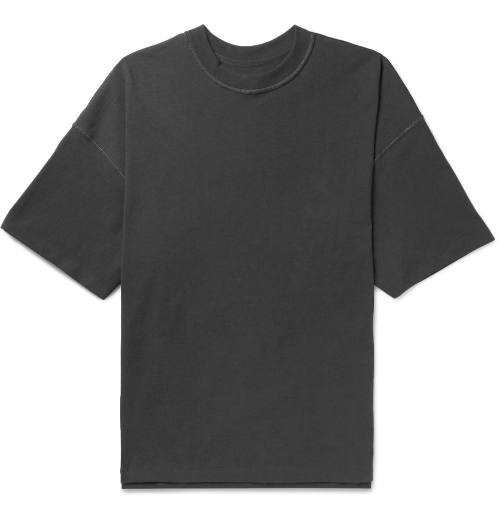Übergroße Baumwolle Jersey T-Shirt Charcoal Rippen Rundhalsausschnitt 100% Baumwolle Kundenspezifische Schwarze Herren Kurzarm T