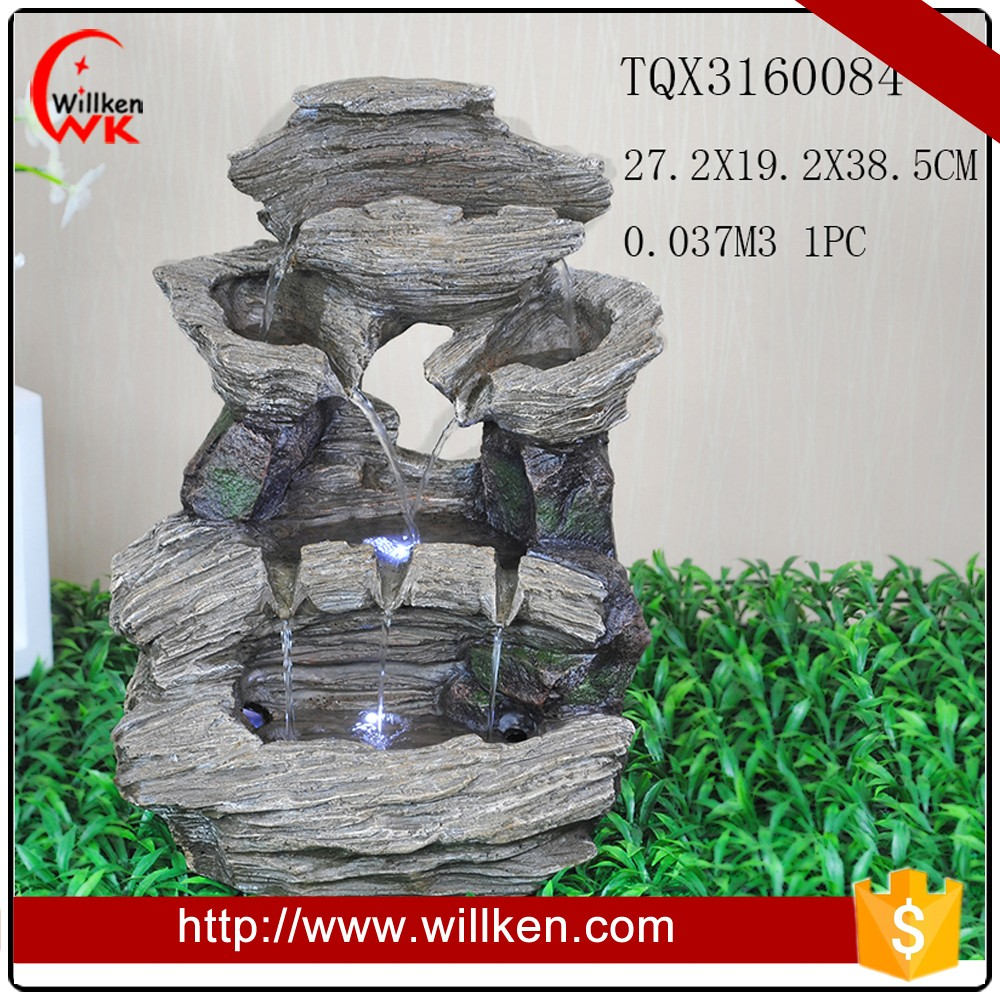 Artificial hill polyresin water fountain with led light