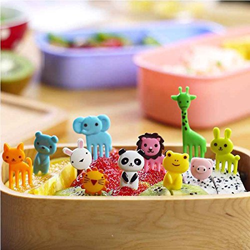 Liangxiang Cute Cartoon Animal Food Fruit Picks Forks Bento Box Lunch Box Decor Pack of 10/8 PCS (Style 4)