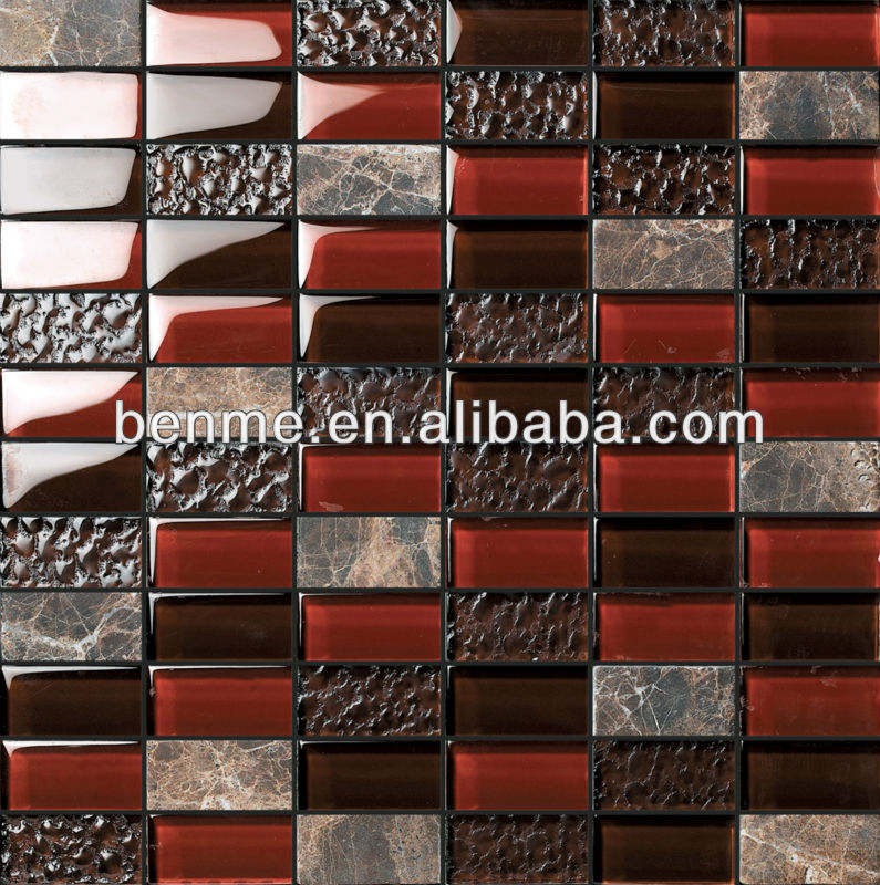 Foshan Black And Red Cheap Mosaic Tiles Deco Stone Wall Tile Red ...