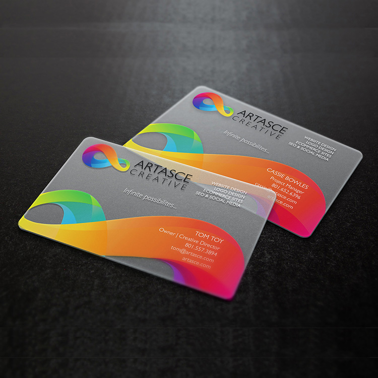 full color recycled blank clear plastic logo printing business cards