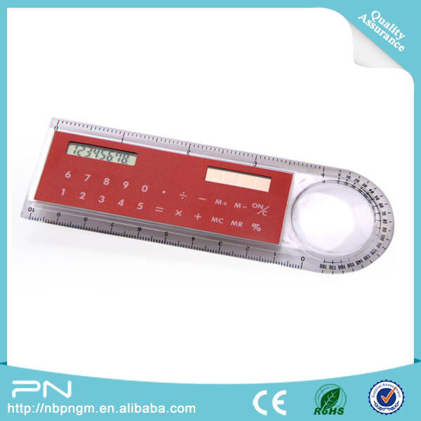 8 digit 10cm ruler calculator with magnifying glass