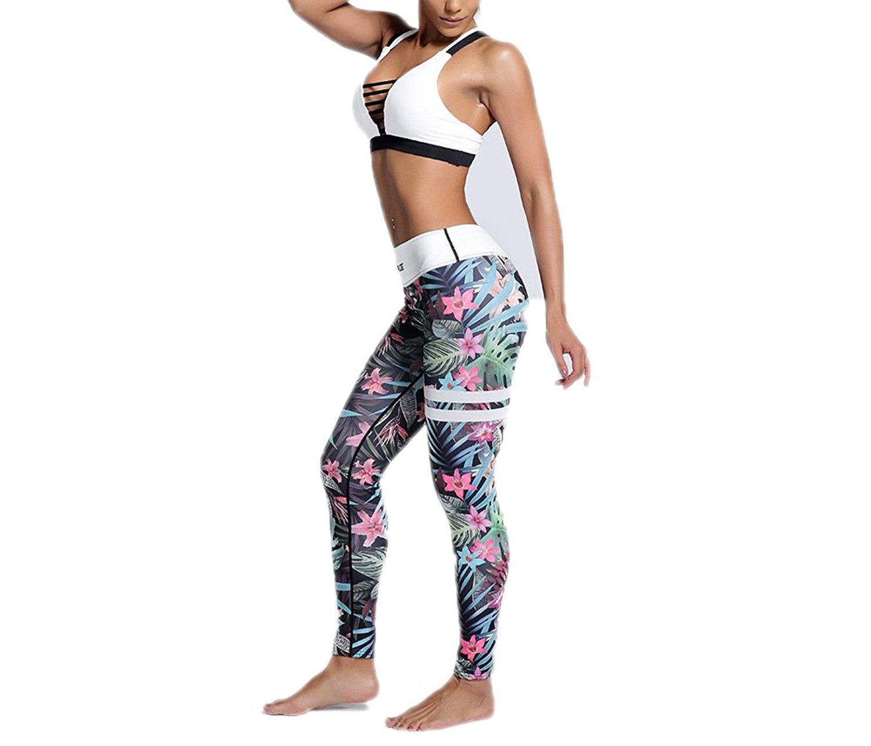 ca6fc005f4 Get Quotations · MVNTOO Womens Yoga High-Waist Leggings Fitness Running 3D  Print Sport Gym Clothing
