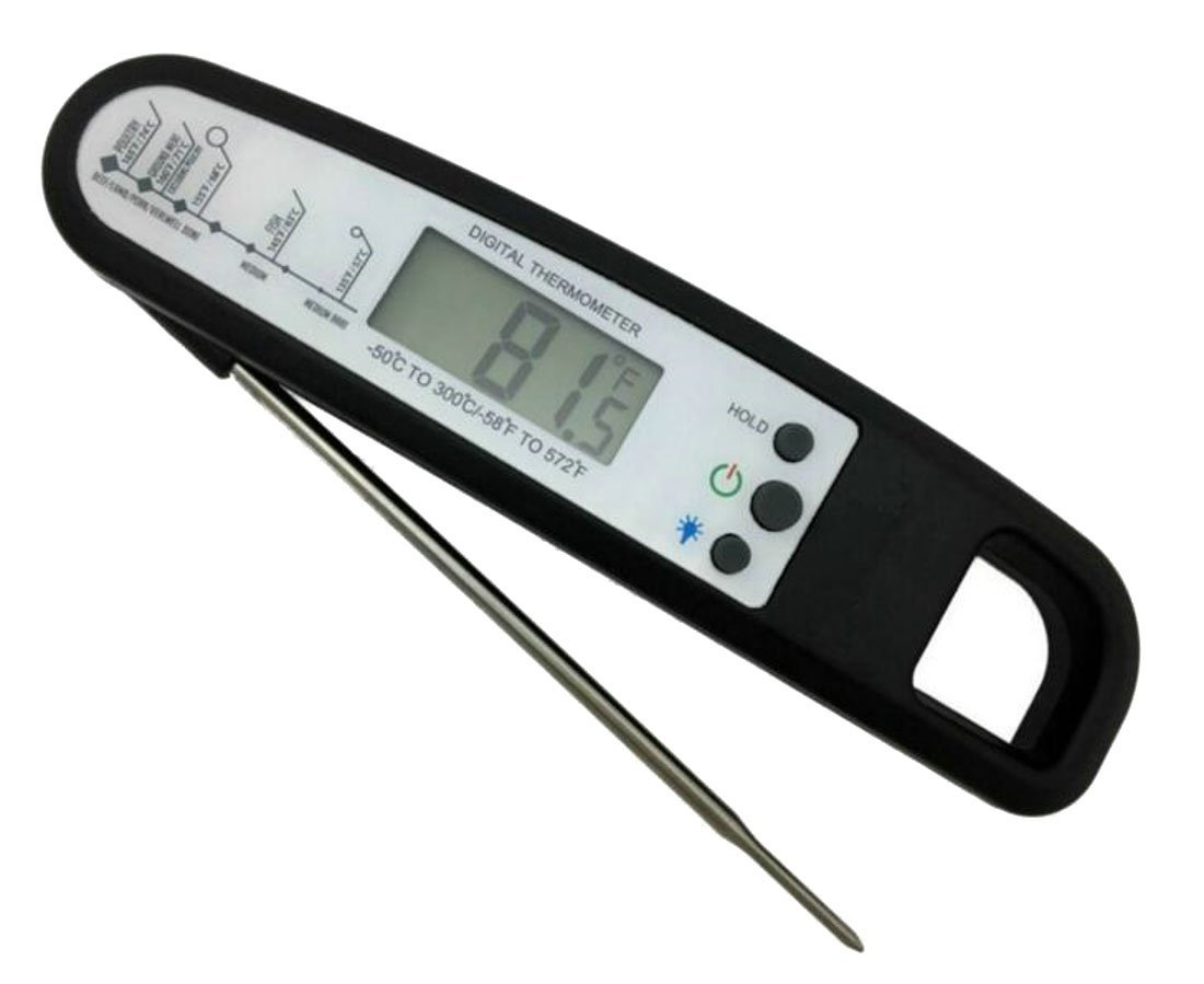 Lutratocro Instant Read Cooking Thermometer, Waterproof Digital Meat Thermometer Super Fast Food thermometer with Collapsible Probe LCD for BBQ Grill Cooking Smoker Liquid Black