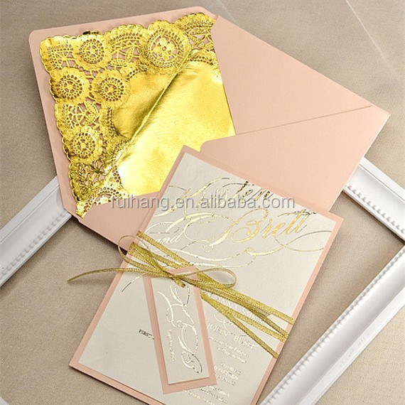 Gold Glitter Wedding Invitation Peach Lace Invitations Pearl