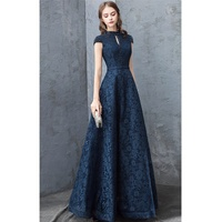 Elegant Lace Long Evening Dresses with Beaded Cap Sleeve Ladies Navy Blue Formal Gowns 2019
