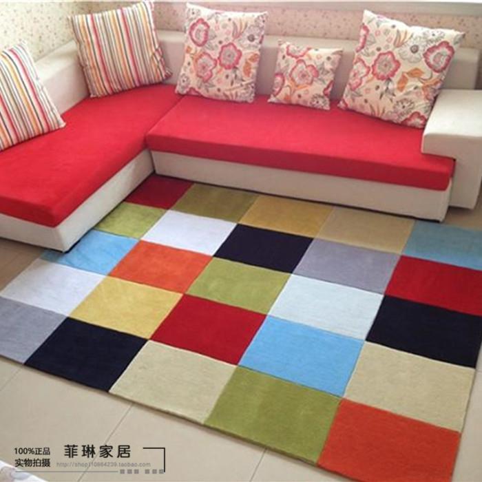 acheter moderne bref multicolore de mode plaid tapis salon table basse tapis. Black Bedroom Furniture Sets. Home Design Ideas
