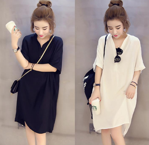 factory wholesale fat girl Summer fashion casual skirt Holiday V-neck new style design plus size shirt long skirt women Dresses