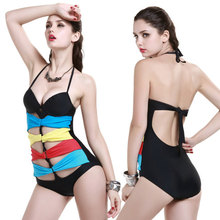 Sexy New Rainbow ribbon One Piece MONOKINI push up SWIMSUIT SWIMWEAR size M L XL  shipping within 24hs