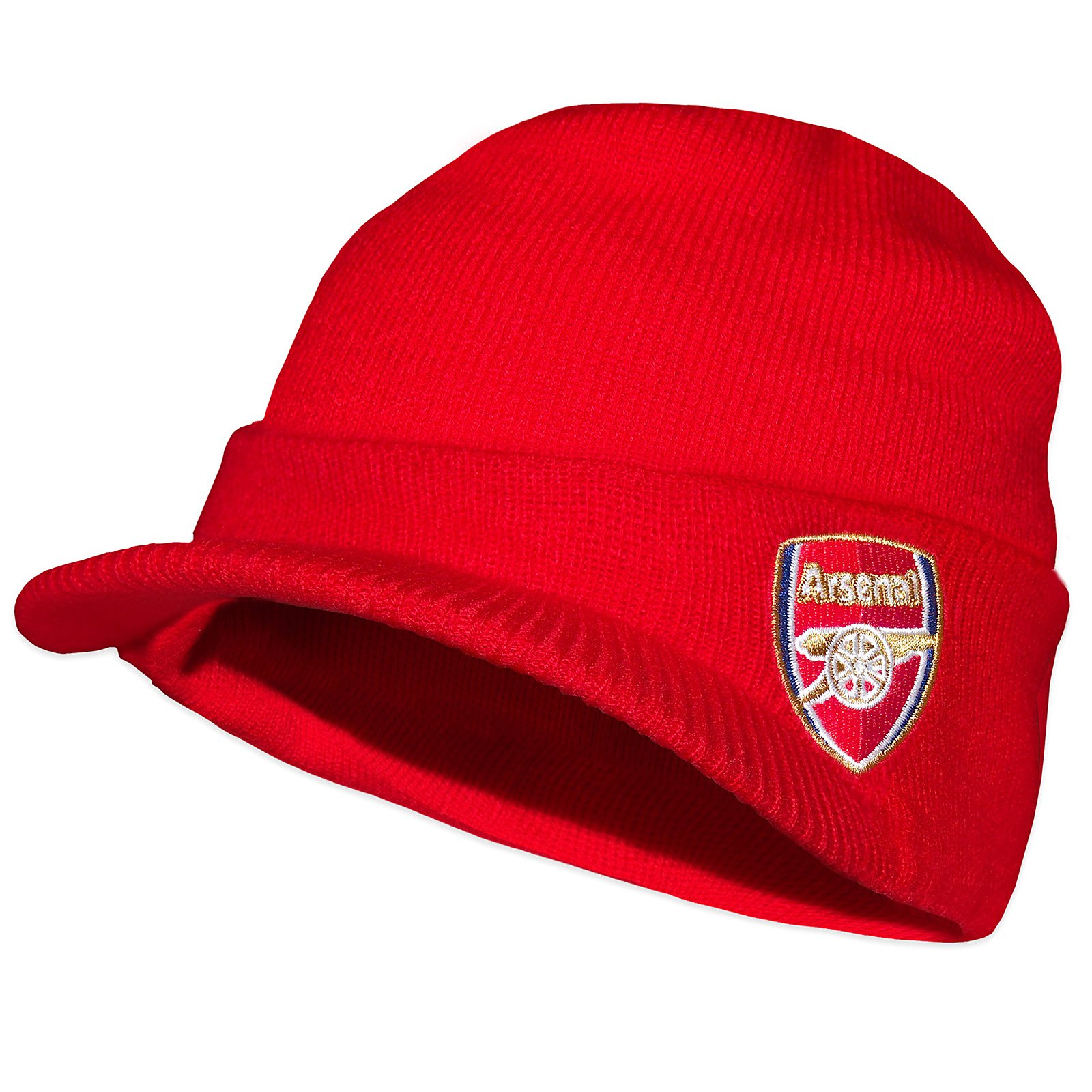 c09f002008f Get Quotations · Arsenal FC Official Soccer Gift Adults Knitted Peaked Beanie  Hat Red