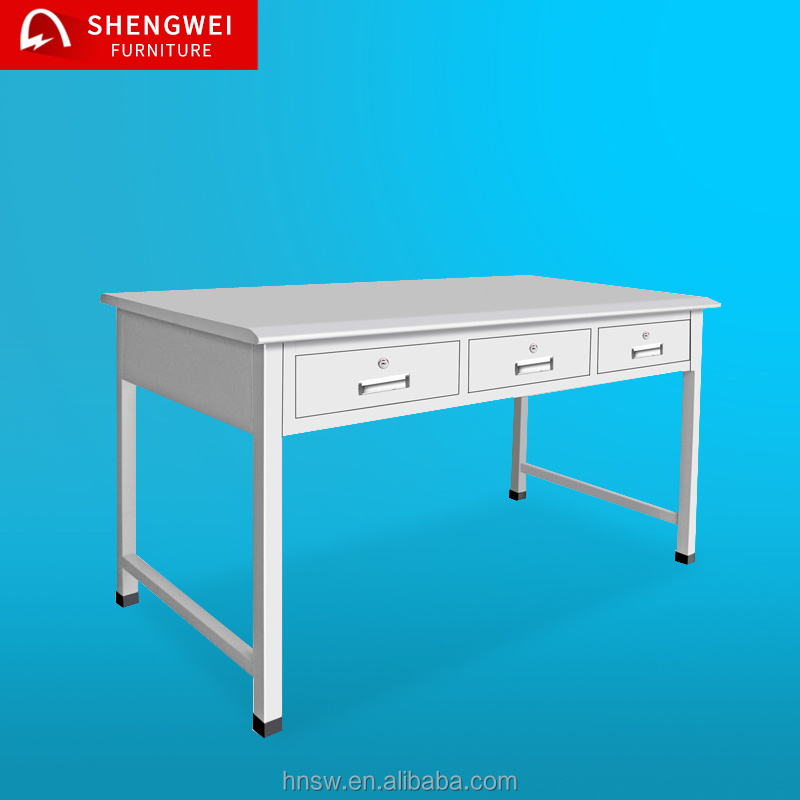 cheap 3 drawers metal material steel study table