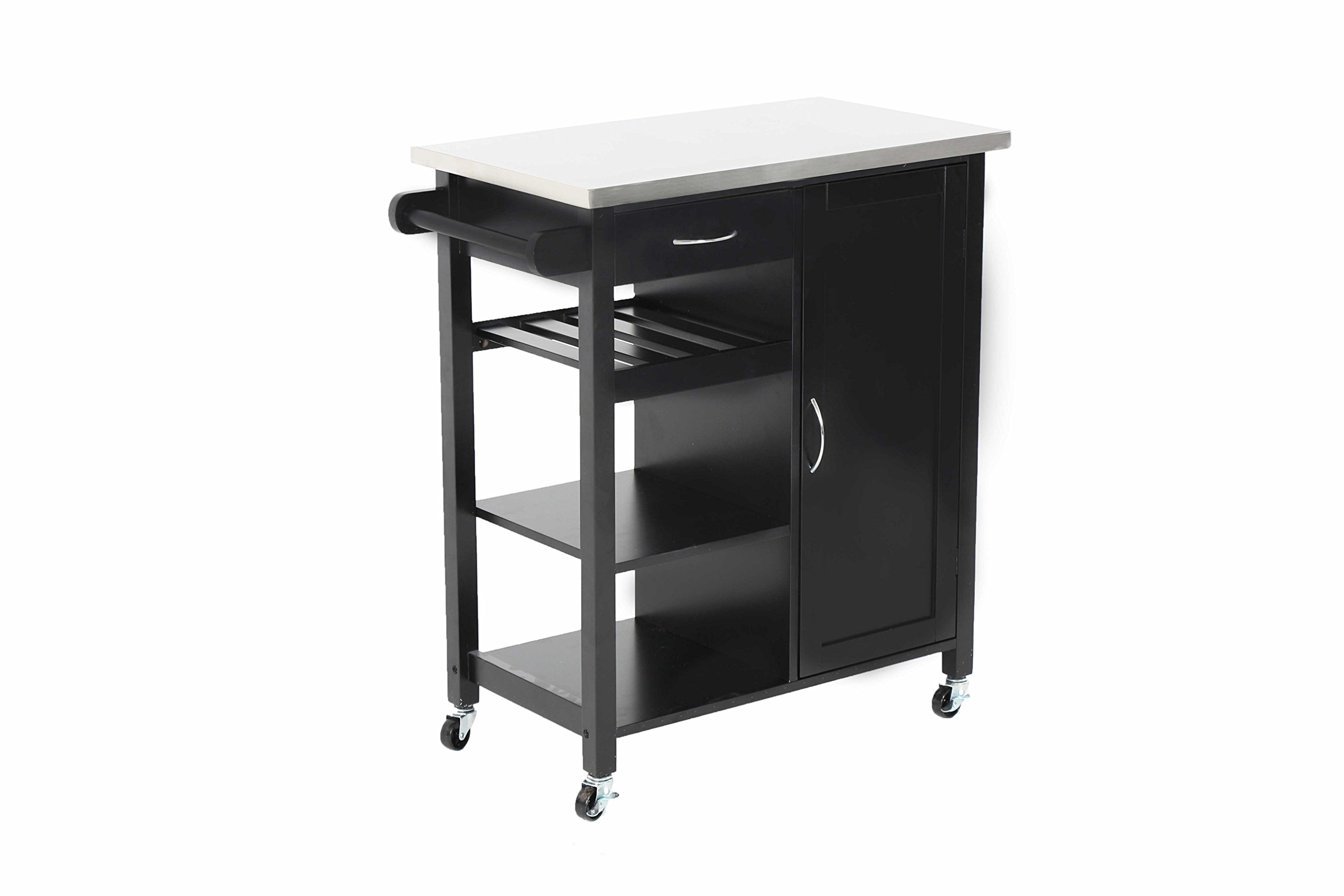 "Oliver and Smith - Nashville Collection - Mobile Kitchen Island Cart on Wheels - Black - Stainless Steel Top - 32"" W x 17"" L x 36"" H 102118-01blk"