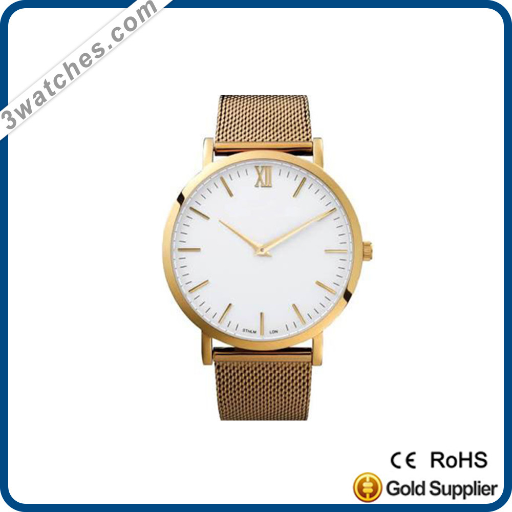 Wholesale brand watches stainless steel water resistant quartz watch mesh band