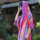 Fashion rainbow ombre colorful peacock feather pashmina shawl stole