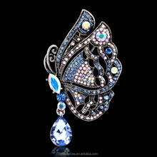 Fashion 2017 new arrival crystal rhinestone butterfly brooches for women indian jewelry brooch