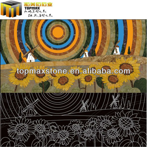 Colorful Sunflower marble medallion for floor and walling