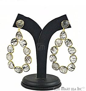 Rutiliated Component Gemstone Bezel Component Earrings 24k Gold Plated 77x40mm,1 Pair (RUER-90035)