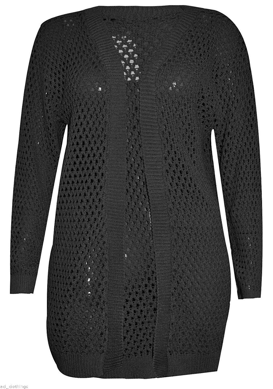 Rimi Hanger Womens Long Sleeve Crochet Knitted Cardigan Ladies Holey Knit Fancy Jumper S/3XL