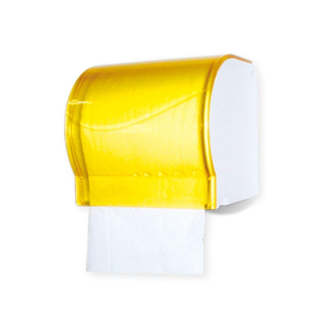 BJLWT Toilet Paper Dispenser,Translucent Tissue Dispenser-Bathroom Toilet Roll Holder 3M Self Adhesive Or Screws Mounting,Single Roll (Color : Yellow)