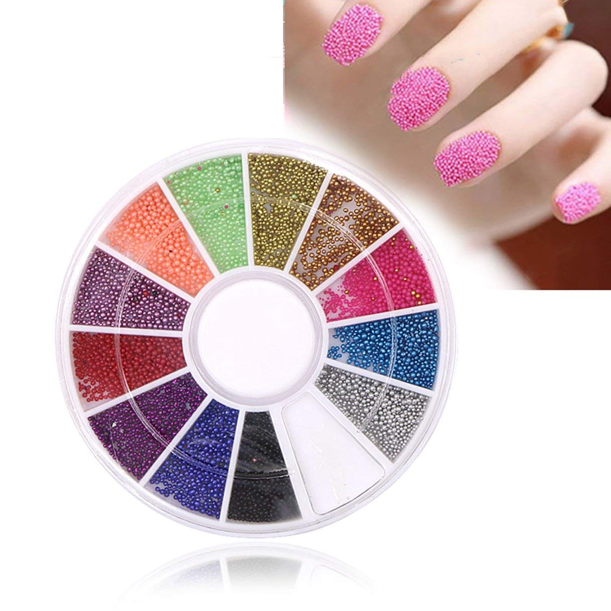 Get Quotations · 1 Sets 12-Colors Acrylic Glitter Nail Art Rhinestone In  Wheel 3D Round Beads Decoration 1c89bd605a18