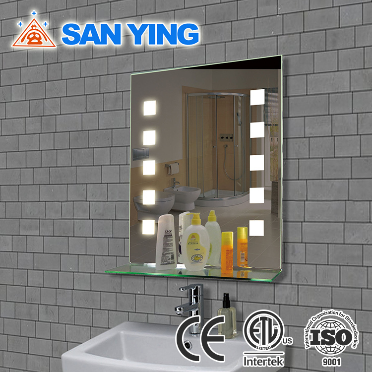 China low price wall hung bathroom mirror with shelf