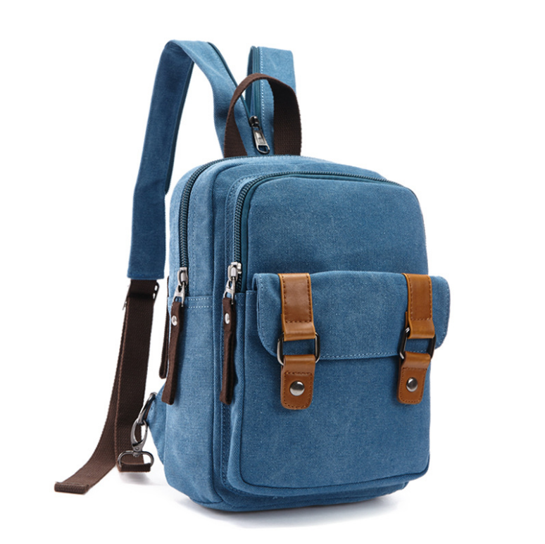 Wholesale fashion water washed 16oz high density canvas backpack for boys and girls , canvas sling shoulder bag made in China