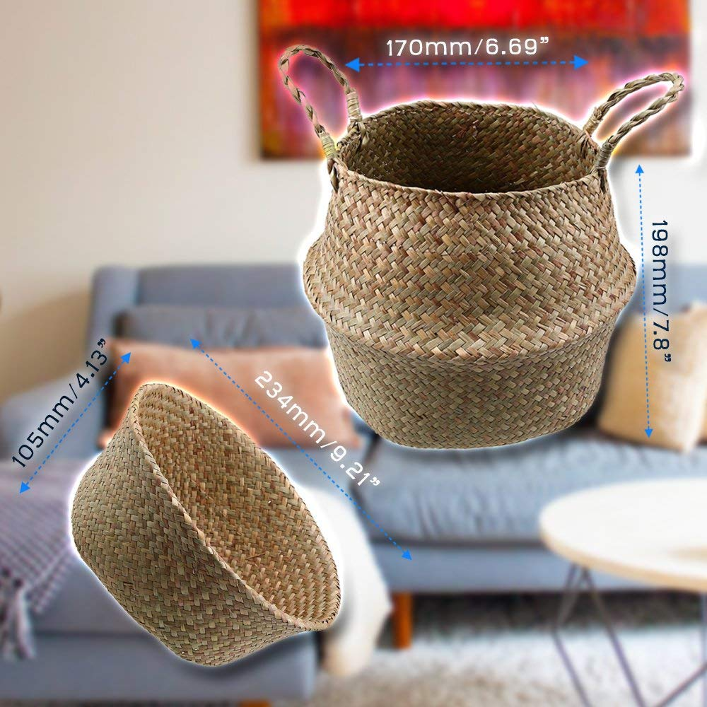 Collapsible Seagrass Basket Collapsible Seagrass Belly Basket Storage Plant Pot Handmade Toy Laundry Bag SparkLy Natural Seagrass Belly Basket Storage Plant Pot Collapsible Nursery Laundry Tote Bag wi