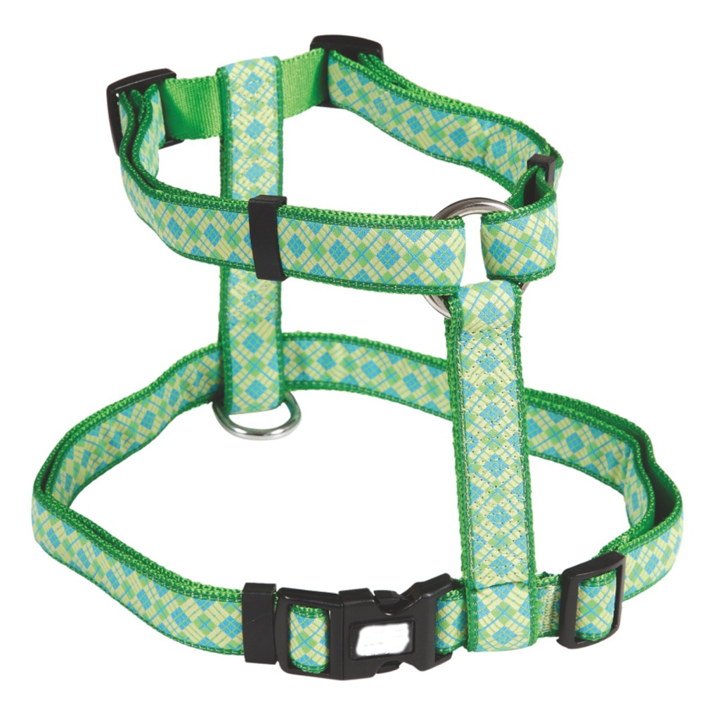 Strong Green Color Woven Logo Harness Dog Use for Big Dog with Only One Buckle