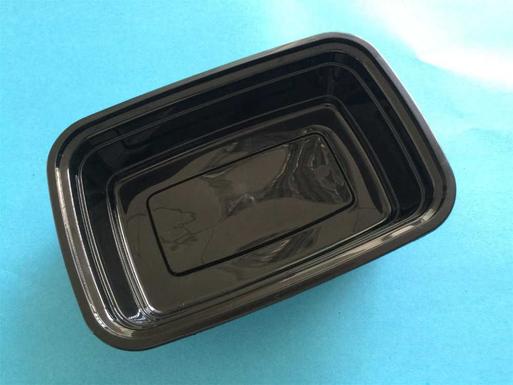 Black Plastic Food Disposable To Go Containers With Lids