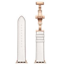Роскошный браслет с бабочкой из натуральной кожи для Apple Watch Band 38 мм 42 мм 40 мм 44 мм для Apple iWatch Series 1 2 3 4 браслет ремень(Китай)