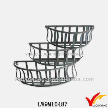 Basket Style Half Circle Rustic Metal Iron Wall Planter Buy Iron Wall