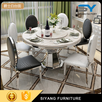 Dinning Table Set White Marble Round Dining With 6 Seater Ct012