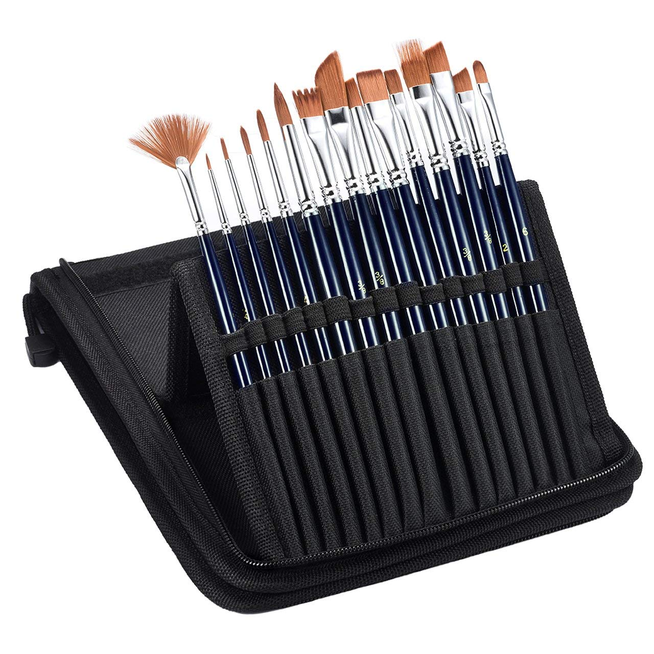 19 Pcs Paint Brushes Set, Atmoko Nylon Hair Paint Brush, with Tray Palette, Palette Knife, Line Drawing Pen, Nylon Leather Storage Bag, for Watercolor, Acrylic & Oil Painting, Painting Ceramic