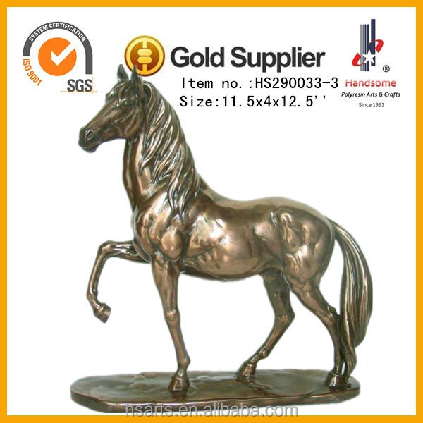 12.5 Inch Resin Craft Animal Figurine Antique Brass Horse Statue