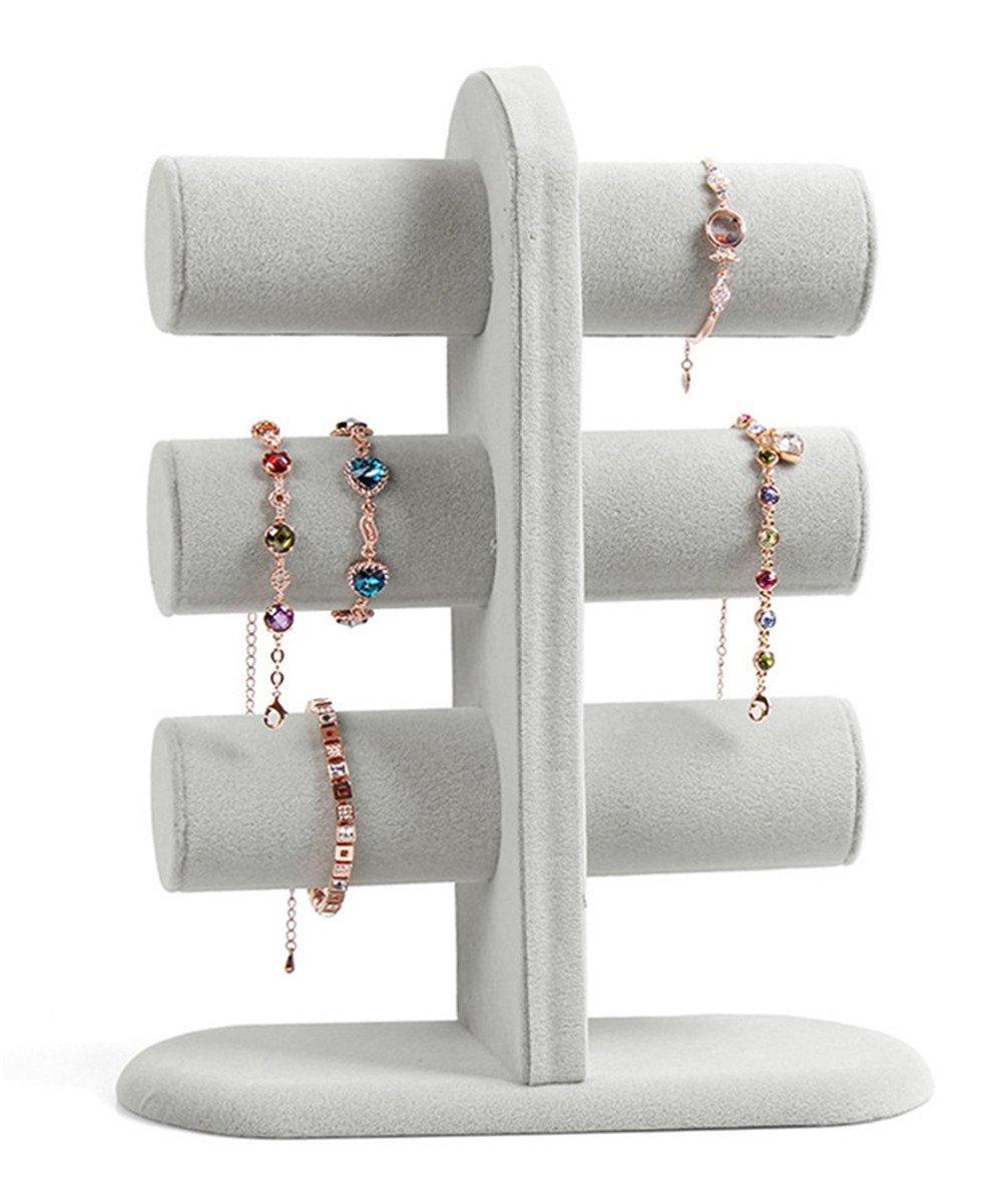 Bestwoohome 3 Tier T-Bar Jewelry Display Stand Single-Row Bracelet Bangle Holder Organizer (Velvet Style)