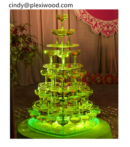 Customized 5 layers champagne acrylic shape glass frame stand for night club hotal party events